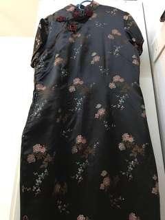 Black Cheongsam   💯 Rayon   Silk-Like