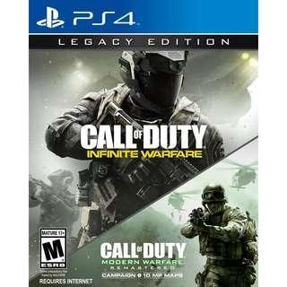 PS4 Call Of Duty Infinite Warfare legacy edition Call of duty Modern Warfare Remastered