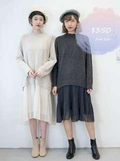 Korean one piece Dress 韓國 冷衫拼厚雪紡 連身 連衣裙
