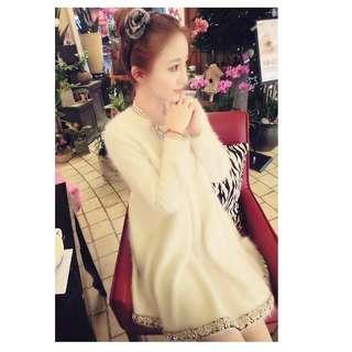 👑歐洲站~甜美釘珠鑲鑽仿貂绒寬鬆連身毛衣裙 (加厚) #538