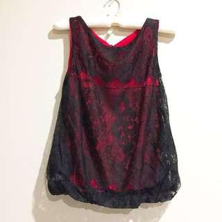 Women's Red and Black Lace Party Top