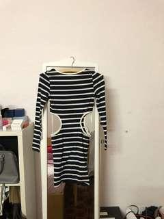 Never worn Topshop striped cut out dress