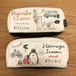 日本可愛刺蝟貓咪筆袋文具