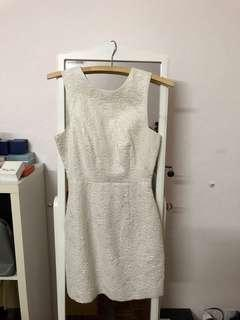 H&M white silver embossed dress