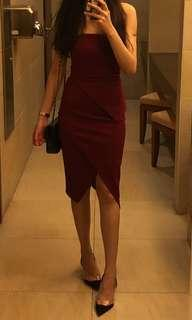 Doublewoot maroon tube midi dress