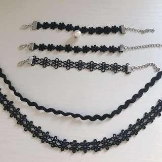 Matching Chokers & Bracelets Set