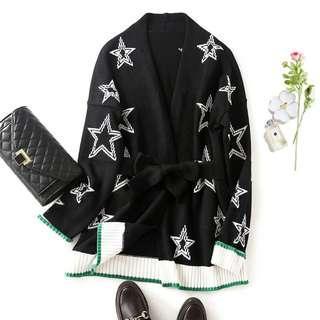 *外銷日本團*👑氣質款星星圖~修身顯瘦羊毛針織衫外套(附腰带) #538