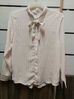 White ribbon tie blouse