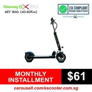 Mustang Gx Pro 48V 18Ah Standing Electric Scooter (LTA Compliant) Limited stocks!!!