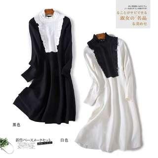 *外銷日本團*👑氣質撞色木耳花邊-收腰顯瘦-針織連身裙 #538