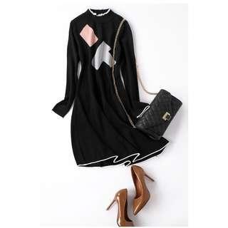 *外銷日本團*👑氣質修身圓領百搭針織連身裙 #538