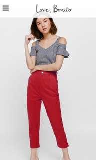 Love bonito Patrice cuffed pants- Red