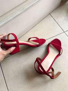 Red Low Heel Sandals