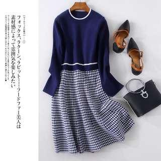 *外銷日本團*👑氣質千鳥格-修身顯瘦-針織連身裙 #538