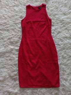 Dress bodycon merah fyn /midi dress #CNY2019