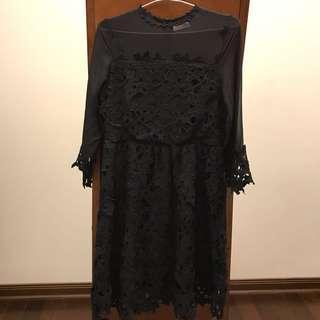 Pazzo 黑色微透洋裝