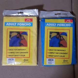 Brand New Adult Raincoat / Poncho (Blue / Yellow)