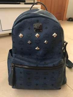MCM Stark Visetos Medium Backpack in Navy