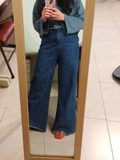 🚚 牛仔顯瘦毛邊長褲