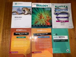 Year 12 textbooks-Legal,further maths,biology,Chinese language culture and society