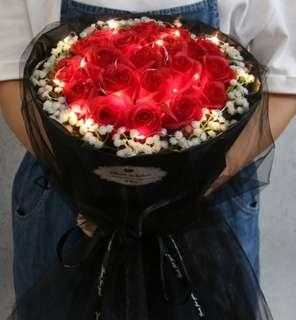 19 Red Roses Bouquet / Soap Flowers / Valentine's Day / Valentine Day
