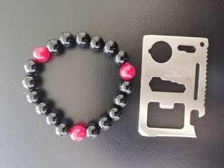 S> black and red agate bracelet