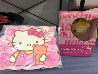 Hello kitty mouse and mouse pad