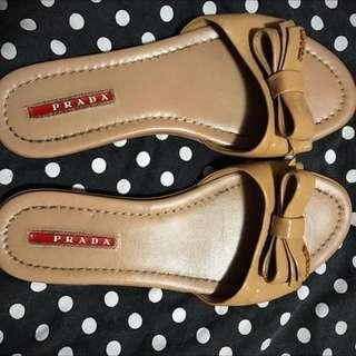 Prada Patent Nude Sandals