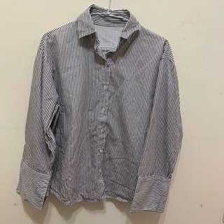 🚚 韓國寬袖條紋襯衫
