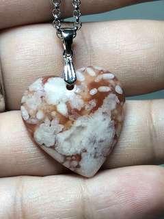 🚚 樱花玛瑙爱心吊坠 Sakura Agate crystal heart shape pendant
