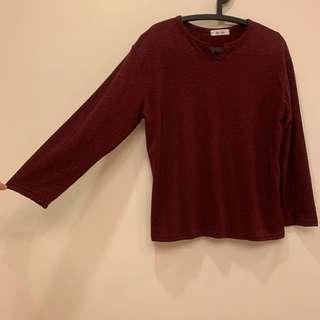 🚚 (Korea)酒紅色 小v領開口 寬袖長袖上衣