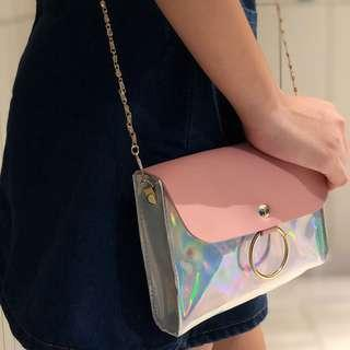 🚚 $6 fast deal Holographic Sling Clutch Bag