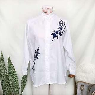 Chinese Collar Embroidered White Button Down
