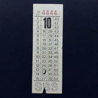 """BTSG. Singapore Bus Service Ltd 10 cents bus ticket with solid number """"4444""""."""