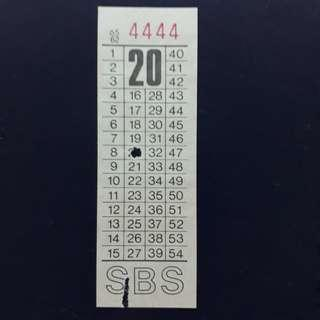 """BTSG. Singapore Bus Service Ltd 20 cents bus ticket with solid number """"4444""""."""
