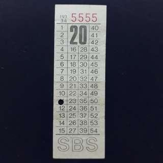 """BTSG. Singapore Bus Service Ltd 20 cents bus ticket with solid number """"5555""""."""