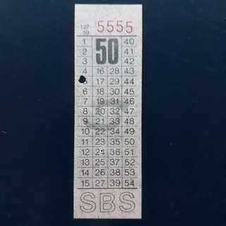 """BTSG. Singapore Bus Service Ltd 50 cents bus ticket with solid number """"5555""""."""