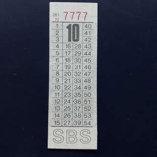 """BTSG. Singapore Bus Service Ltd 10 cents bus ticket with solid number """"7777""""."""
