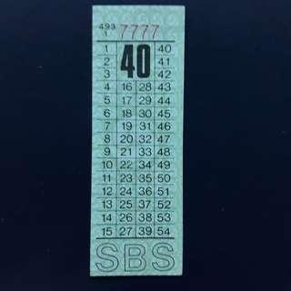 """BTSG. Singapore Bus Service Ltd 40 cents bus ticket with solid number """"7777""""."""
