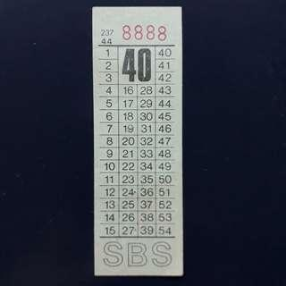 """BTSG. Singapore Bus Service Ltd 40 cents bus ticket with solid number """"8888""""."""