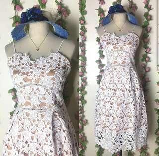Elegant white midi dress
