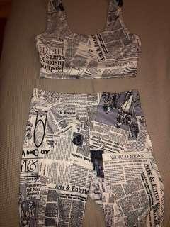Top and Bike shorts (Newspaper Pattern)