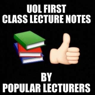 UOL Lecture Notes. University Of London First Class Honours