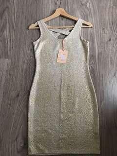 Gold Midi Dress S fit to M