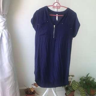 MNG blue denim midi dress
