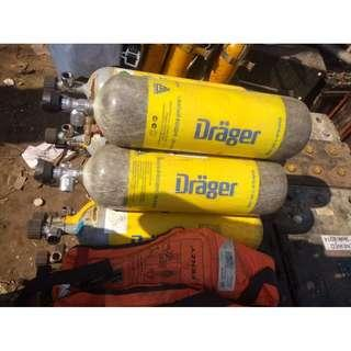 DRAGER BREATHING AIR SCUBA COMPRESSOR TANKS (CYLINDERS)
