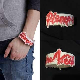 Pierce The Veil Logo Die Cut White Bracelet