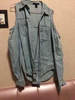 🚚 Forever 21 light blue Denim cold shoulder top Jacket