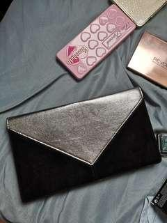 Authentic Dorothy Perkins Black Silver Envelope Clutch