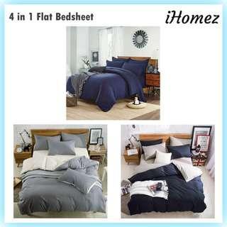 4 in 1 Flat Sheet Bedsheet Bedding Set Pillow Case Cadar Tilam Quilt Cover